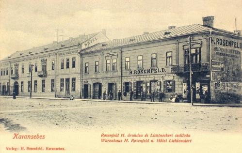 Karánsebes:Zöldfa szálloda és Rosenfeld áruház.1903