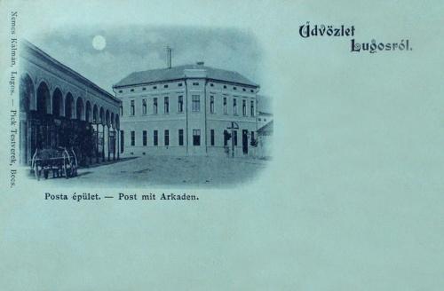 Lugos:Posta és balra a bazár sor.1899