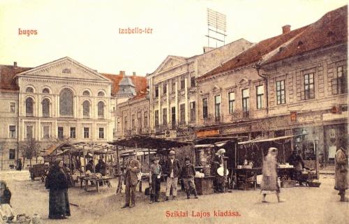 Lugos:Izabella tér,vásár piac.1909