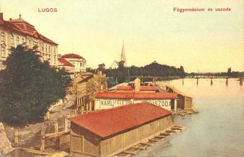 Lugos:Főgimnázium és Karl féle úri uszoda.1909