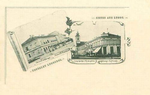 Lugos:Honvéd Laktanya és katolikus templom.1897