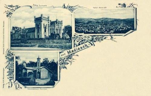 Medgyes:Tornacsarnok,látkép és Lővészház.1898