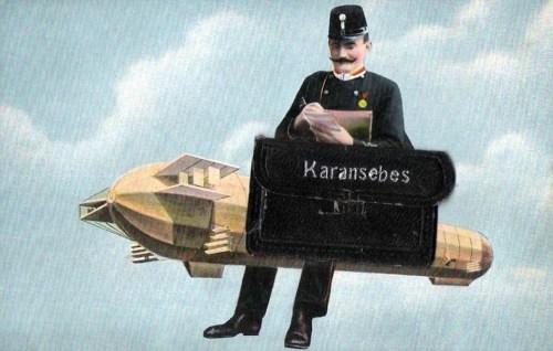 Karánsebes:Zeppelin és postás.1911