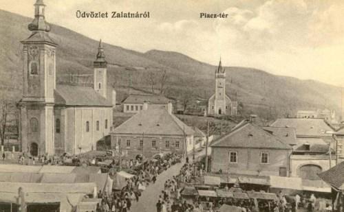 Zalatna:piac tér a templomokkal.1912