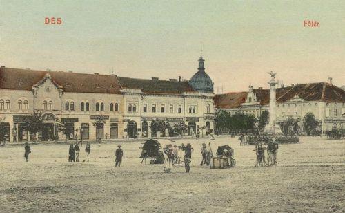 Dés:főtér Hungária szálloda és Milleniumi emlékmű 1912