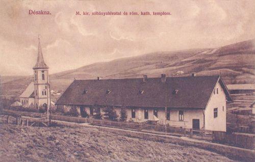 Désakna:Magyar Királyi Sóbánya Hivatal és katolikus templom.1912
