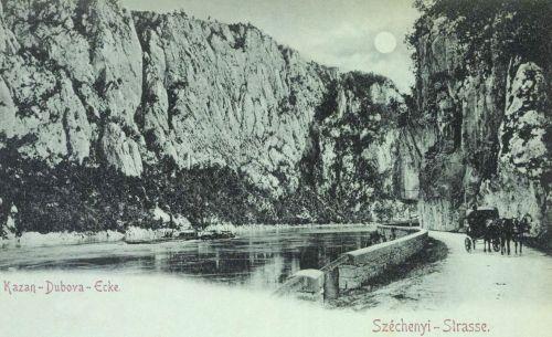 Dunatölgyes,(Dubova):Széchenyi út és emléktábla a Kazán-szorosban,1899.