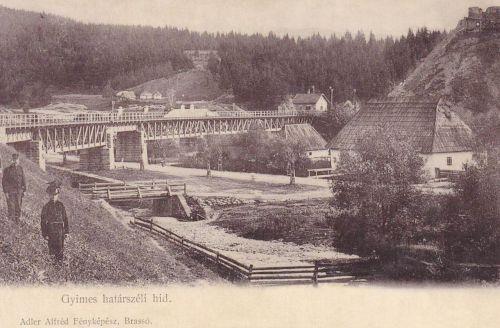 Gyimes:haytárszéli hid,jobbra a Rákóczi vár.1902