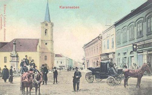 Karánsebes:katolikus templom,honvédek.1909