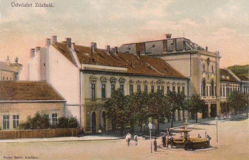 Zilah:Városháza és szökőkút.1903