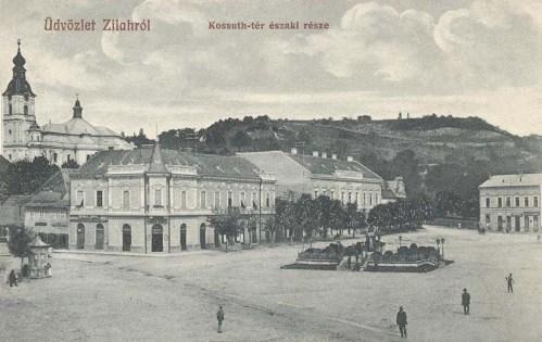 Zilah:Kossuth tér,balra templom,jobbra Wesselényi szobor.1914