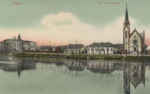 Lugos:balra szinház,jobbra református templom.1911