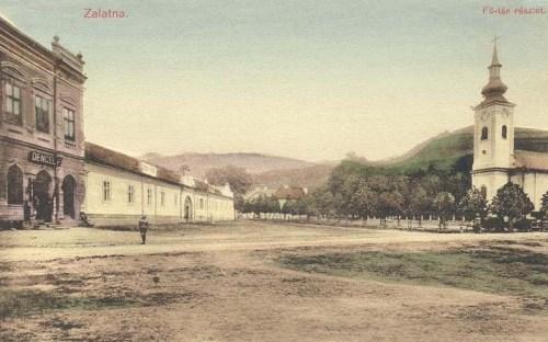 Zalatna:főtér a katolikus templommal.1910