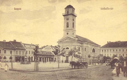 Lugos:Izabella tér a templommal.1909