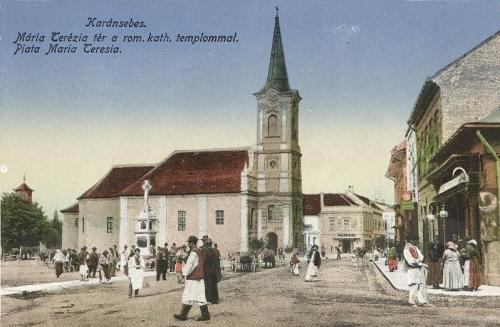 Karánsebes:Mária Terézia tér a katolikus templommal.1916