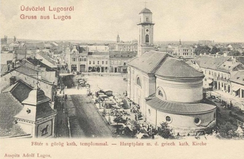Lugos-Lugosch-Lugos:főtér a görög katolikus templommal.1903
