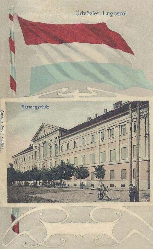 Lugos:Vármegyeháza.(magyar zászlós).1901
