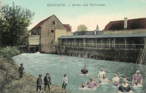 Medgyes:malom kerek által hajtott hullámfürdő,1911.