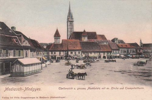 Medgyes:piac,templom,bástyák.1902