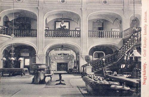 Nagykároly:gróf Károlyi kastély belseje az adrium.1908
