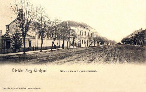 Nagykároly:Kölcsey utca a gimnáziummal.1902