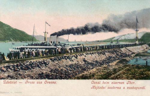 Orsova:Hajozási csatorna a vaskapunál, milleniumi ünnepség 1896-ban.1900