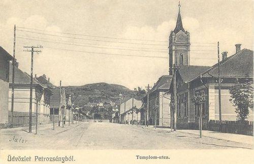 Petrozsény:Templom utca a katolikus templommal.1913