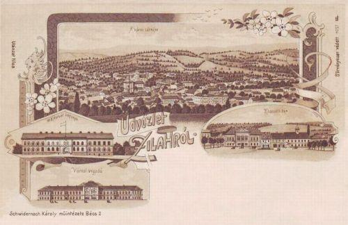 Zilah:Kossuth tér,Vigadó,Magyar Királyi Honvéd Laktanya (kőnyomat).1899