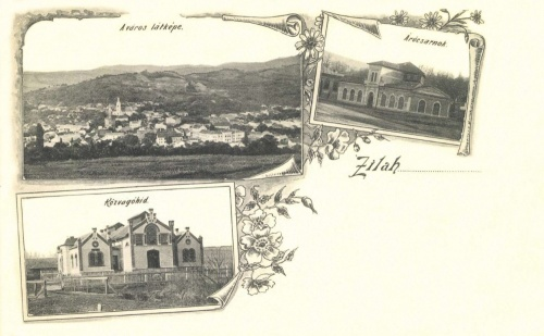 Zilah:közvágóhid,árucsarnok,látkép,1902.