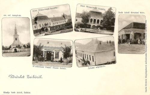 Zsibó:fűszer és divatárú üzlet,református templom és népiskola.1902