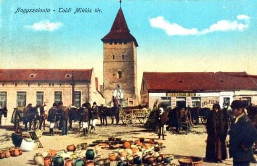 Nagyszalonta:Toldi Miklós tér és piac.1916