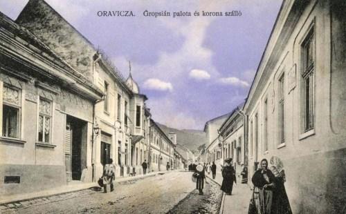 Oravicza:Korona szálló és Grospian palota.1910