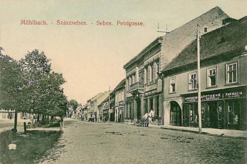Szászsebes:Petri utca,gyógyszertár.1911