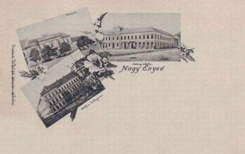Nagyenyed:városháza,Bethlen kollégium és Leány iskola.1898