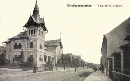 Dicsőszentmárton:Rákoczi utca,kaszinó és villasor,1915.