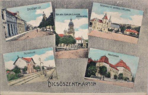 Dicsőszentmárton:Erzsébet út,Megyeháza,Pályaudvar,Posta,Községháza.1912