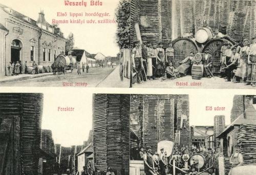 Weszely Béla első lippai hordógyára,román királyi udvari szállitó,1908.