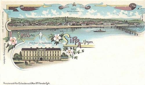 Lippa-Lipova:kőnyomat,látkép a Maros hiddal és iskola.1898