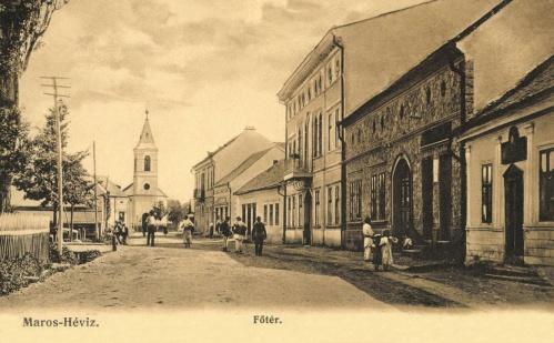 Maroshéviz:Főtér a református templommal és a Maros szállodával,1906.