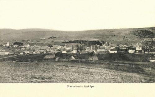 Maroshéviz:látkép a templomokkal,1907-ben.
