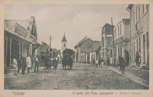 Maroshéviz:református templom,jobbra a leégett Maros szálloda.1929