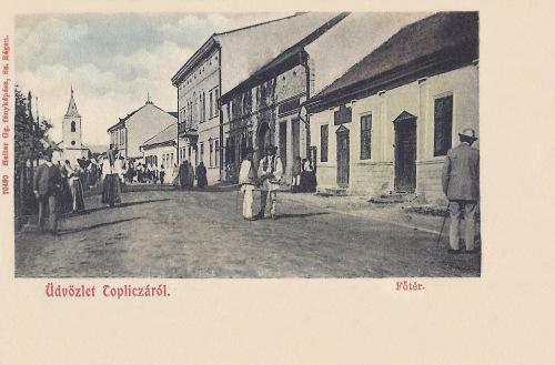 Maroshéviz:Főtér a református templommal.1904