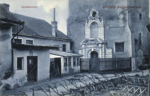 Nagyszalonta:csonkatorony még az Arany János szobor nélkül,1906.
