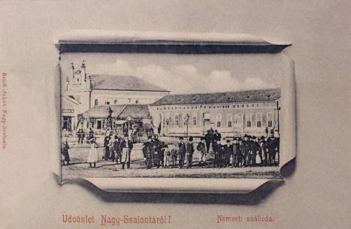 Nagyszalonta-Grossalonta-Salonta:Nemzeti szálloda és izraelita zsinagóga.1902