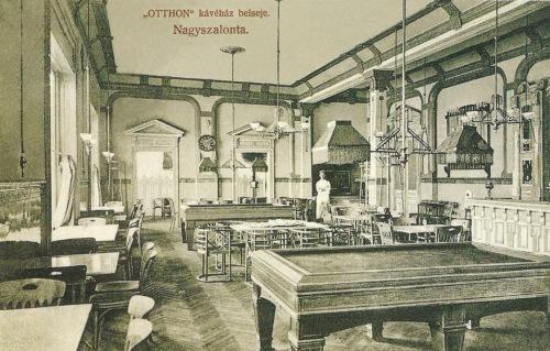 Nagyszalonta:Otthon kávéház belseje billiárd asztalokkal,1909.