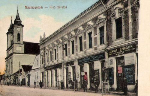 Szamosújvár:Alsó Viz utca,könynyomda,könyv-,papir-,irószer áruház.1908