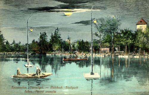 Szászsebes:Városliget a csónakázó tóval.1910