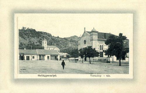 Szilágysomlyó:Termény tér a zsidó templommal.1912