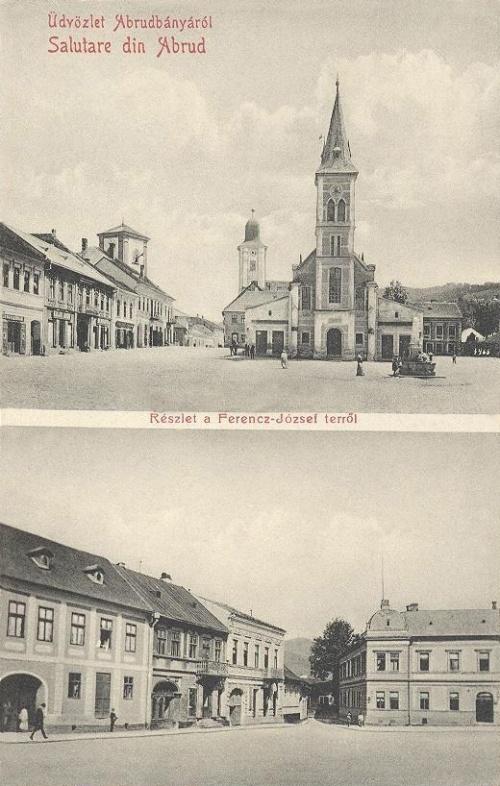 Abrudbánya:Ferencz József tér,templomok.1910