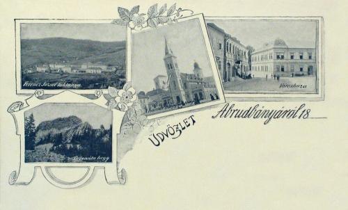 Abrudbánya:városháza,három magyar templom,Ferencz József laktanya.1898